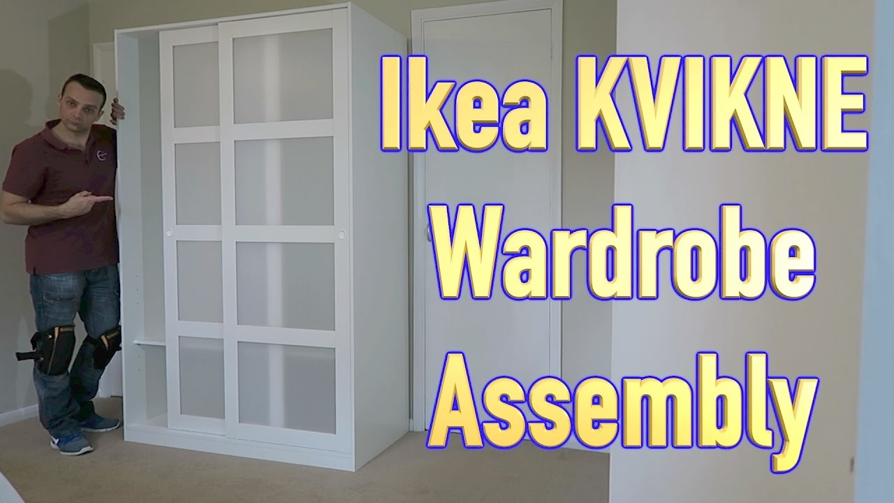 ikea kvikne wardrobe with 2 sliding doors assembly youtube. Black Bedroom Furniture Sets. Home Design Ideas