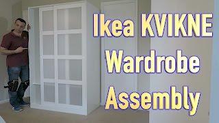 Gambar cover IKEA KVIKNE Wardrobe with 2 sliding doors assembly