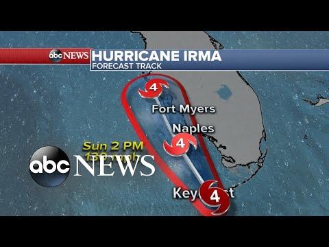 Latest tracking of Hurricane Irma