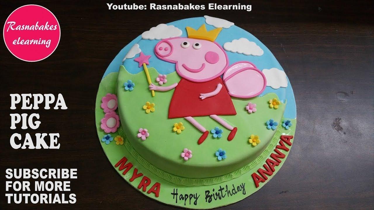 Peppa Pig Birthday Fondant Cake Design Ideas For Kids Decorating Tutorial Video Youtube