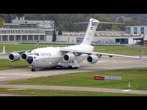 (Live ATC/Great Sound) Kuwait Air Force C-17 Globemaster III at ZRH