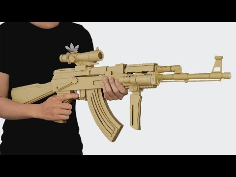 How To Make Cardboard Gun | Amzing AK-47 Gun That Shoots