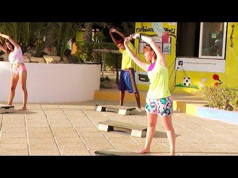 Step aerobics with animator Dhia - CARIBBEAN WORLD DJERBA, TUNISIA 2016