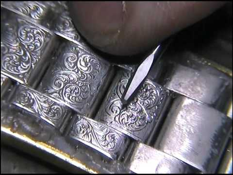 Hand Engraving Omega Steel Watch Braclet