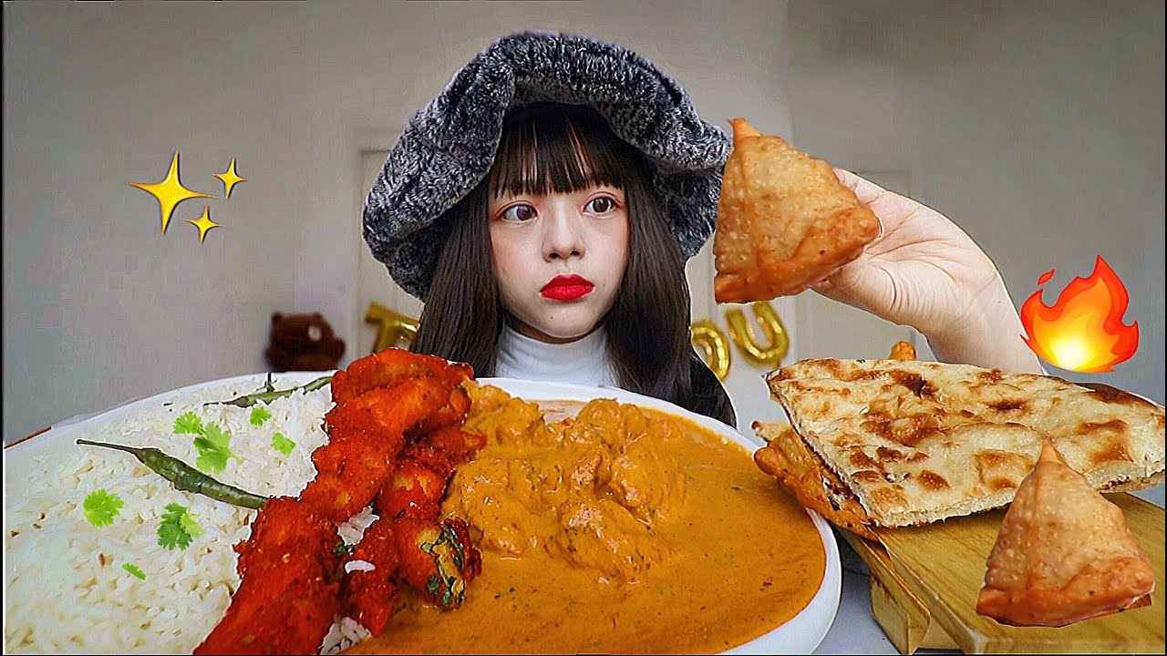 😳FIRST TIME TRYING INDIAN FOOD: CREAMY BUTTER CHICKEN CURRY, SAMOSA, NAAN, TANDOORI MUKBANG 인도 음식 먹방
