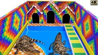 Build Swimming Pool Crocodile Around The Secret Underground House From Magnetic Balls Satisfying