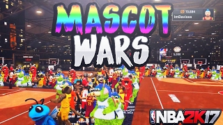 FIRST EVER MASCOT WARS! SO MANY MASCOT NBA 2K17 MY PARK AND STAGE