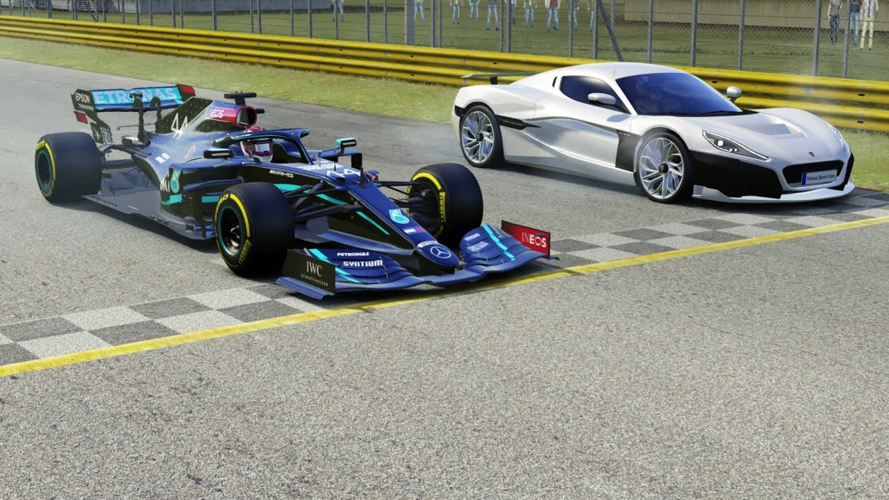 Rimac Nevera Electric Hypercar vs F1 Mercedes AMG W11 EQ Performance V6 Turbo Hybrid