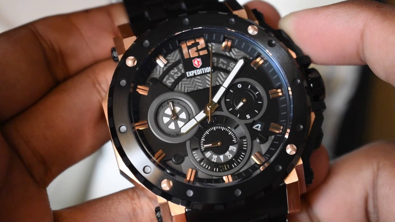 Jam Tangan Expedition Man Black Dial Leather Strap Daftar E6694 Dual Time Rose Gold Original Timepiece E 6402 M Rosegold