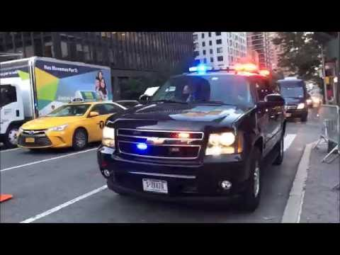NYPD & UNITED STATES SECRET SERVICE TRANSPORTING FOREIGN HEAD OF STATE DURING U.N. MEETINGS.