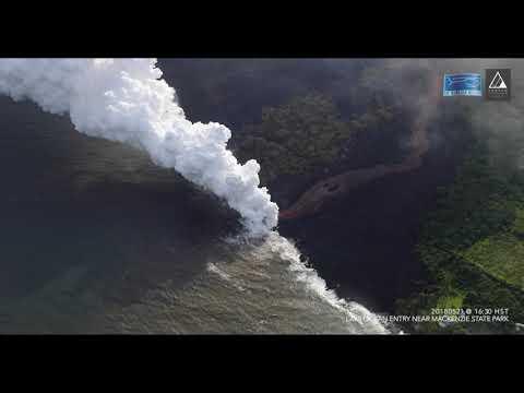 Steam Rises as Lava Enters Ocean Near Hawaii's MacKenzie State Park