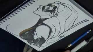 Adam Hughes drawing Ms. Marvel