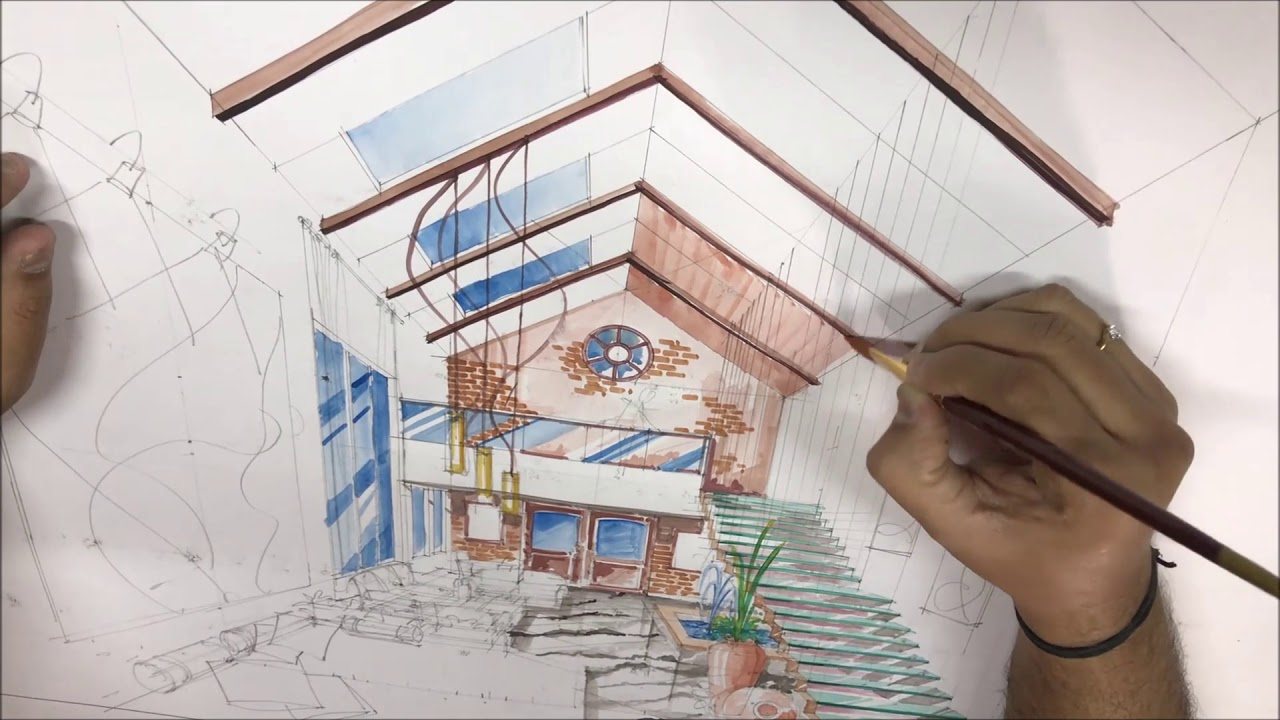 Interior Design Perspective Drawing   Water Colour Rendering Technique
