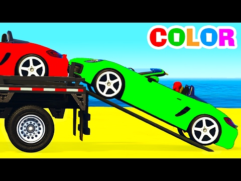 Thumbnail: COLOR CARS Transportation in Spiderman Cartoon for Kids & Colors for Children Nursery Rhymes