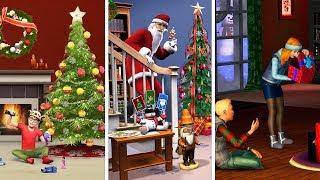 Новый год в The Sims   Сравнение 3 частей