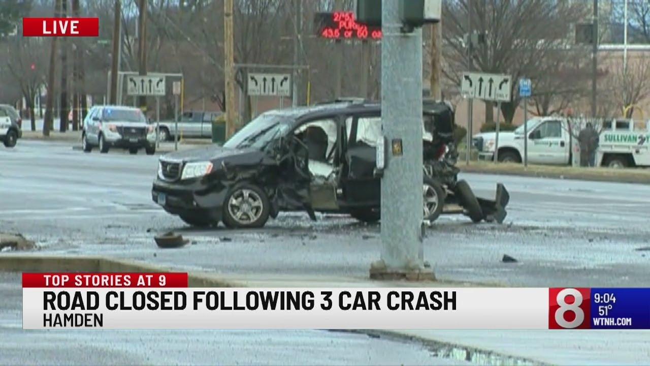 Multi-vehicle accident blocks Dixwell Avenue in Hamden