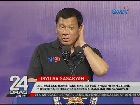 CSC,walang nakikitang mali sa pagtanggi ni Pang. Duterte sa ibinigay sa kanya na mamahaling sasakyan
