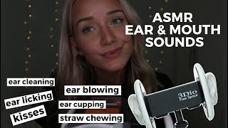 ASMR Ear & Mouth Sounds Binaural (Ear Licking, Blowing, Cupp...