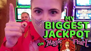 My BIGGEST Handpay Jackpot EVER on Magic Pearl Lightning Link!