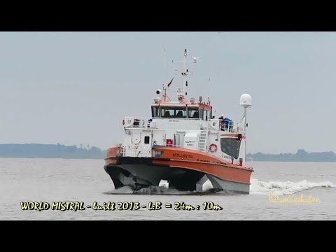 high speed craft WORLD MISTRAL OWJT2 IMO 9681302 offshore crew boat inbound Emden