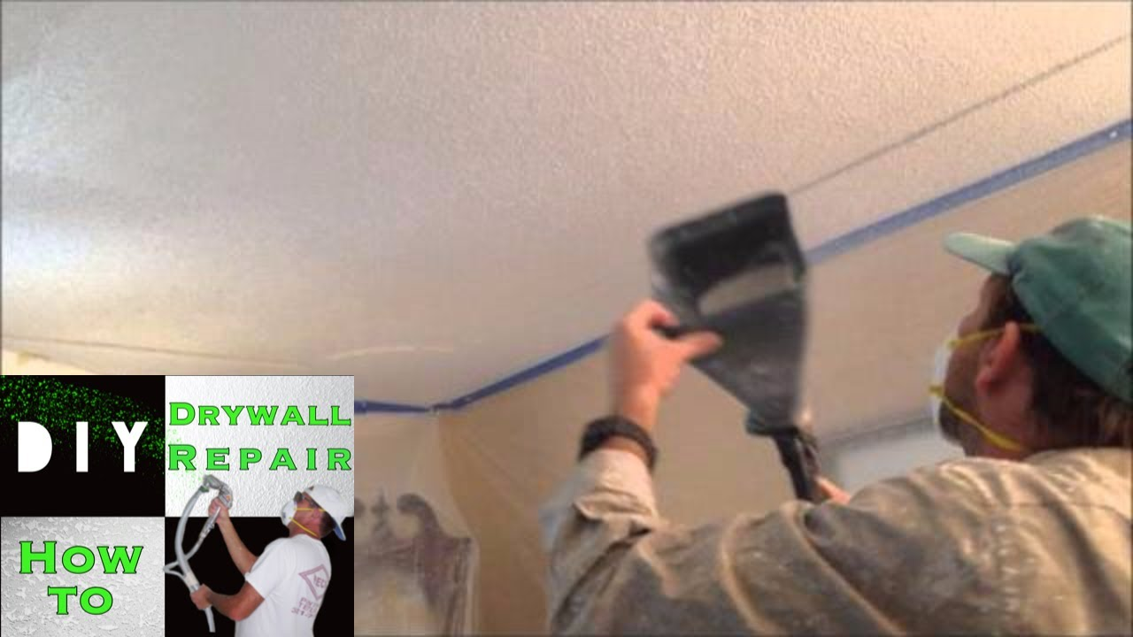 How To Spray Popcorn Ceiling Texture On A Drywall Ceiling Repair