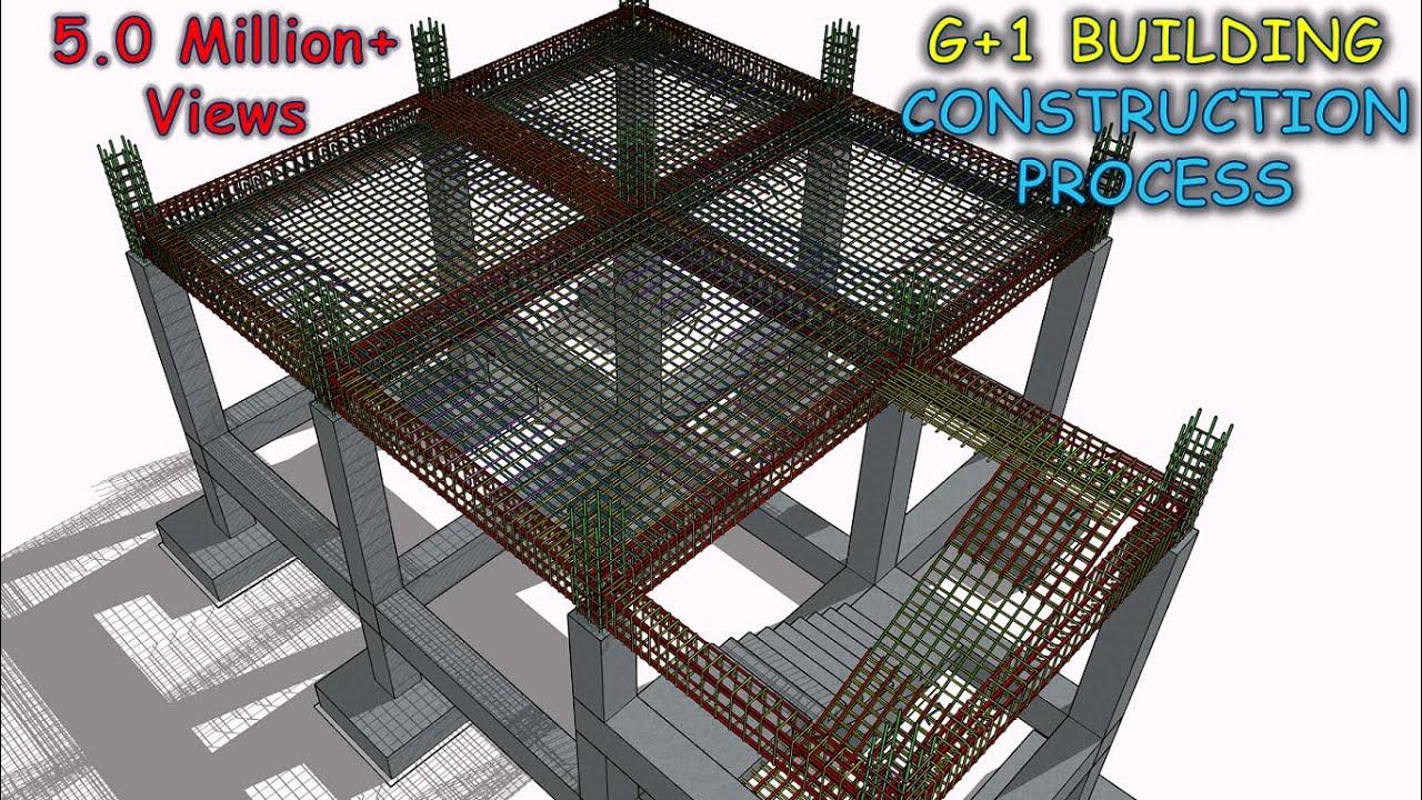 RCC Building Construction Process   Footing   Column   Beam   Stair   Slab   Hidden Beam   Rebar