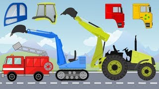 Street Vehicles Mini Excavator and Tractor loader with Wrong Cabins and Colors | Video for Kids