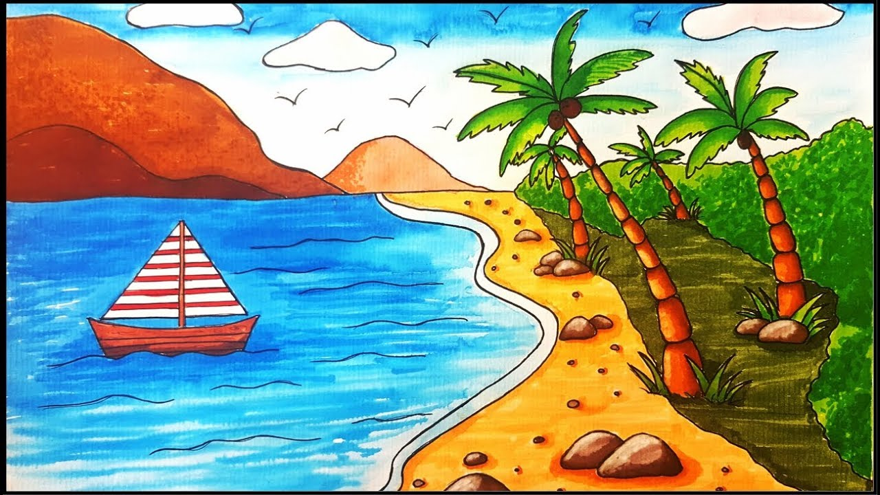 How To Draw A Beach Scenery For Beginners Step By Step Youtube