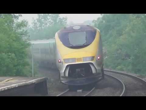 66774 drags eurostar 373201 + 373202 through tamworth 6X73 st pancras to kingsbury 26/05/18