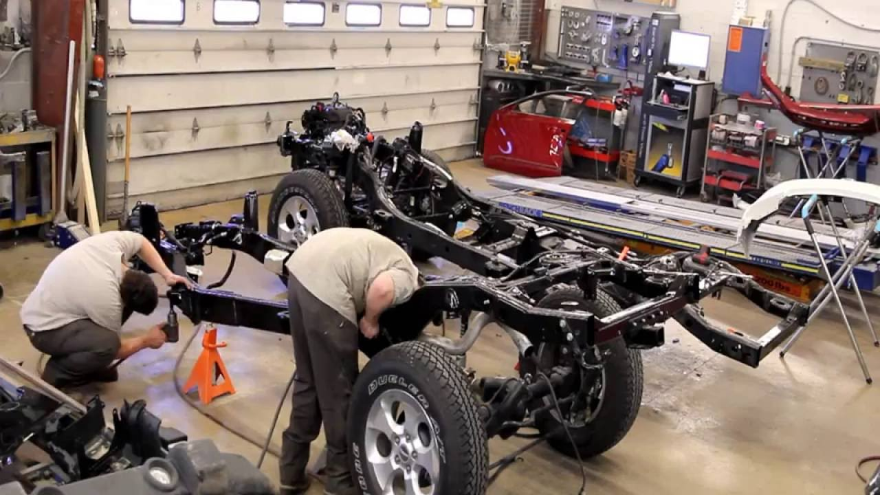 time lapse of frame replacement 2009 jeep wrangler done by barrys paint shop