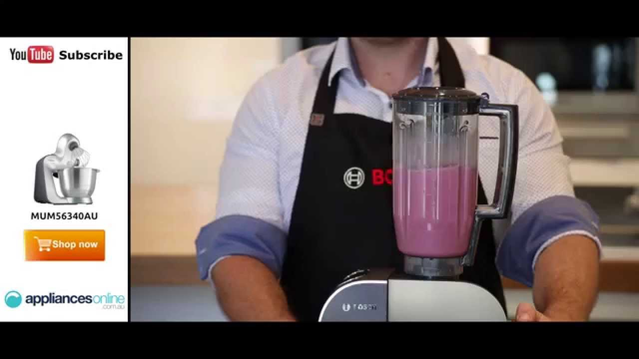 Simple Banana And Strawberry Milkshake Using The Bosch Mum56340au