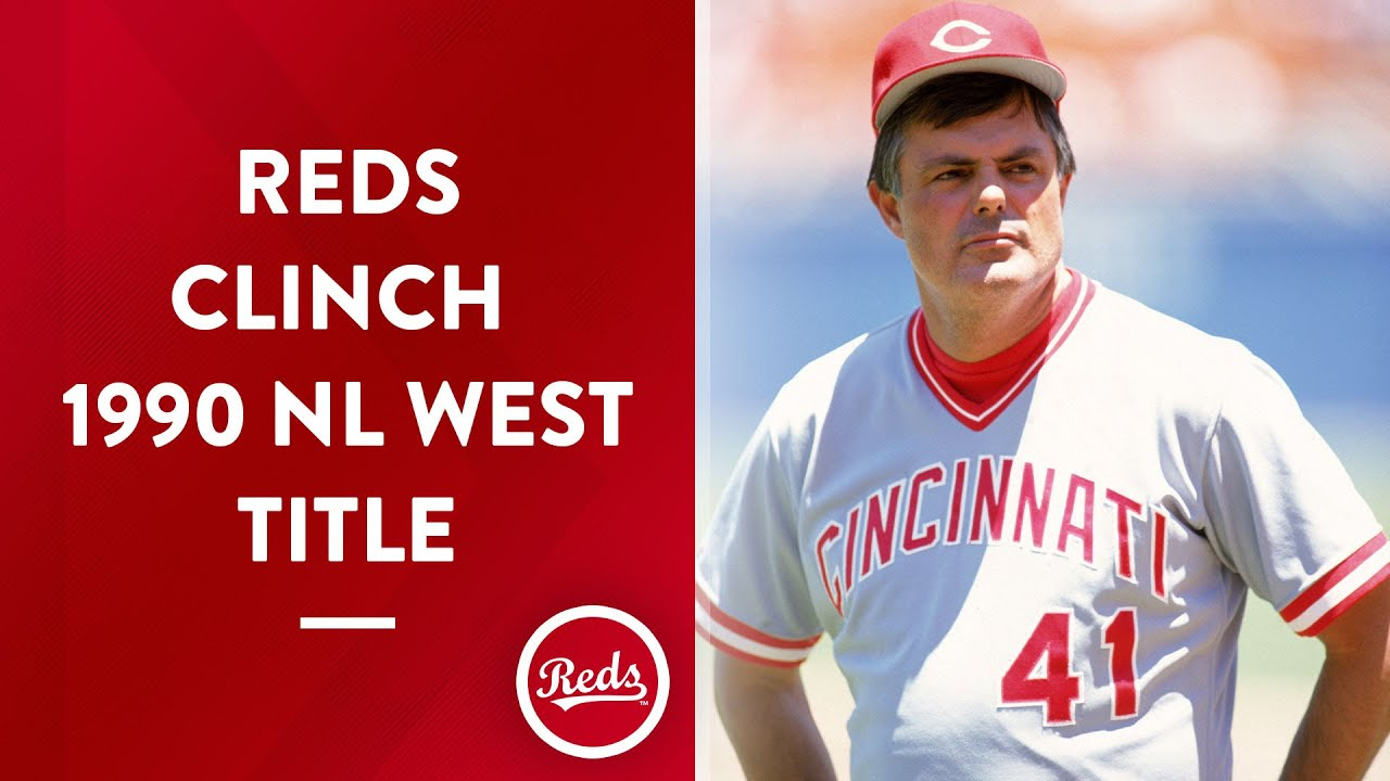 Reds clinch the 1990 NL West title during a rain delay when SF beats LA