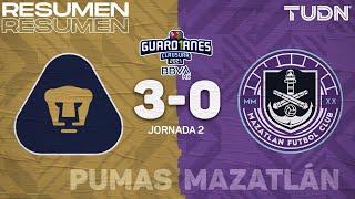 Resumen y goles | Pumas 3-0 Mazatlán FC | Torneo Guard1anes 2021 BBVA MX - J2 | TUDN