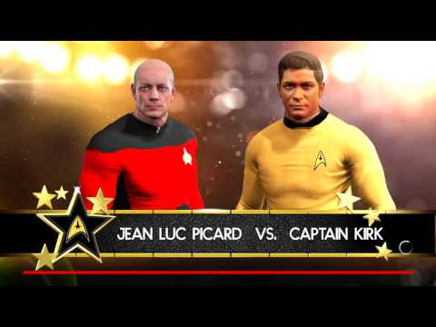 Captain Picard vs. Captain Kirk from Star Trek