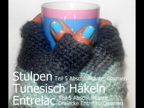 Stulpen häkeln in Entrelac Technik, Tunesisch Häkeln *Teil 5 – Kreativ mit täschwerk