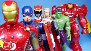 파워레인저 다이노포스 와 어벤져스 2 슈퍼히어로들 헐크버스터 avengers 2 super heroes dino charge toys