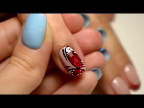 Как рисовать бабочку на ногтях пошагово видео для начинающих