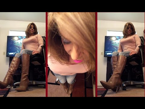 Crossdressing in Leather Boots and Tight Jeans