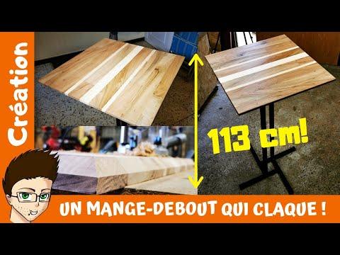 Un Mange Debout Bois Et Metal Plateau De Table En Frene Et Noyer Youtube