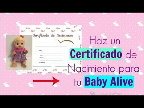 Certificado De Nacimiento Para Baby Alive Youtube