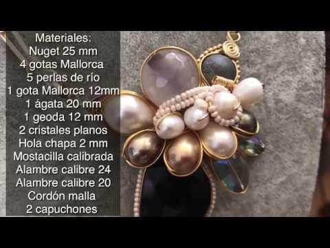 d5b05f9cba55 Collar en alambrismo y cuello de malla  alambrismo  diy  collar   mallatubular