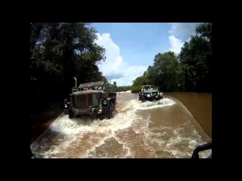 Deuce M35A3 and Jeep CJ7 riding the Comite River