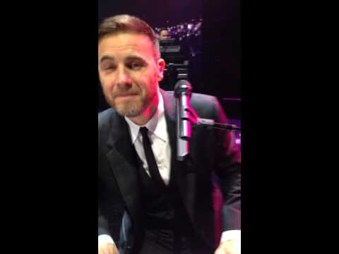 Gary Barlow singing to me on stage - a million love songs Sheffield 2014