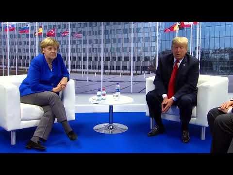 Donald Trump Meets Angela Merkel At Nato After Slamming Germany