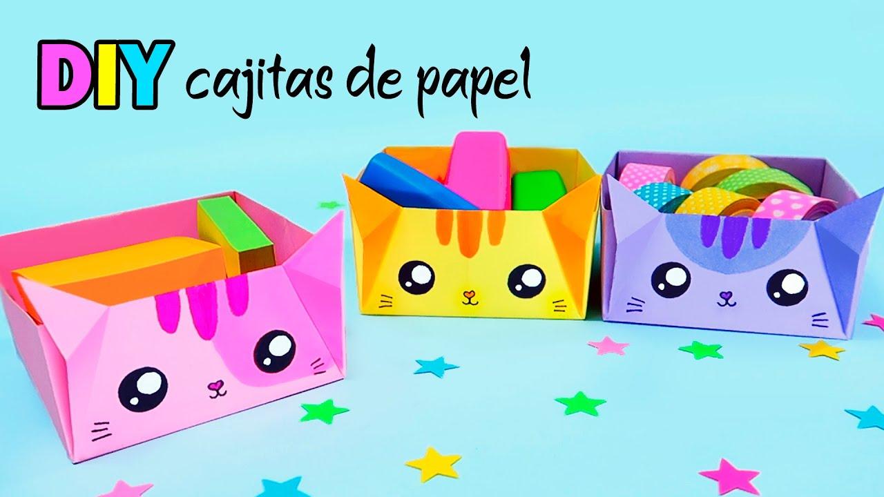 Manualidades con Papel / Cajitas de Papel DIY Organizador de Escritorio / Tutorial Origami