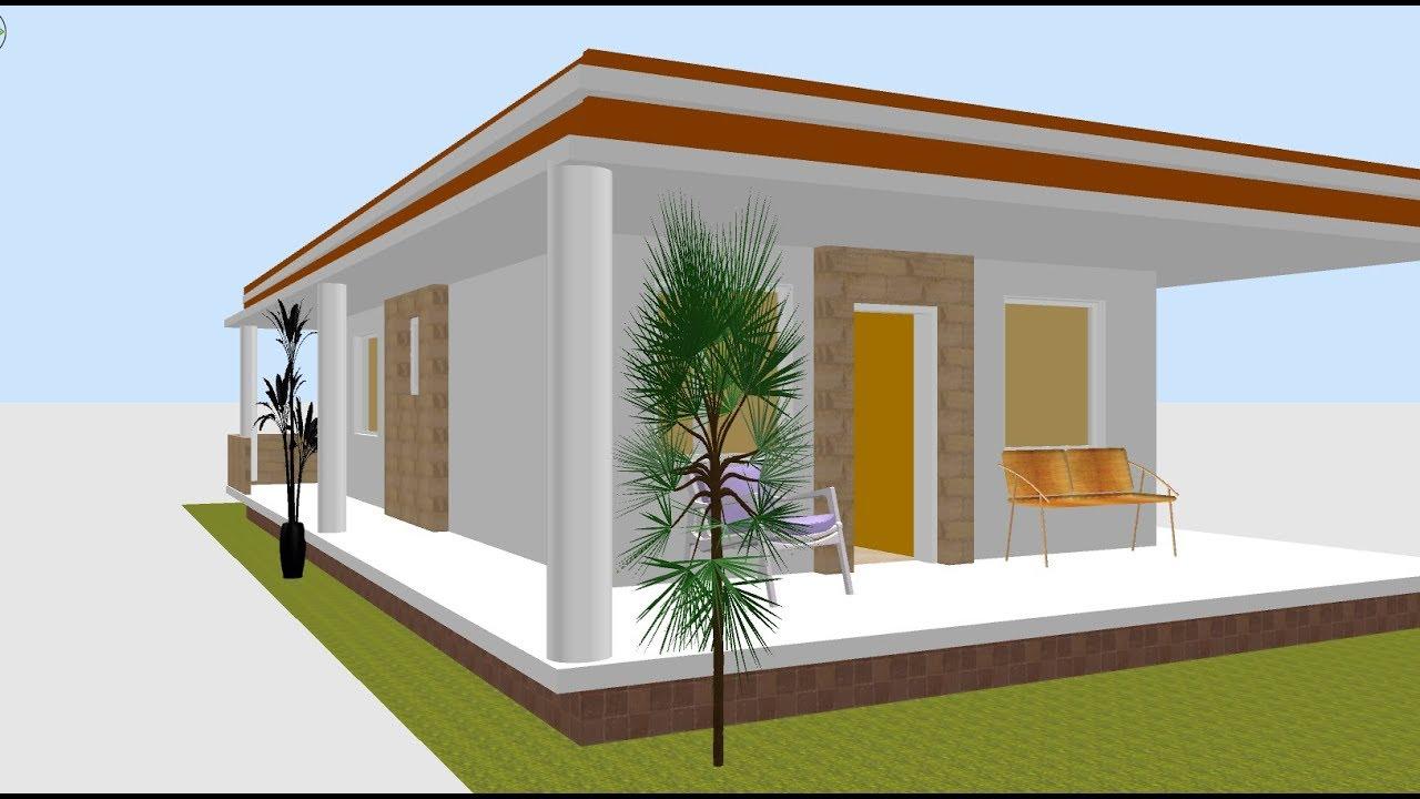 Planta 3d para casa pequena com varanda youtube for Muebles practicos para casas pequenas