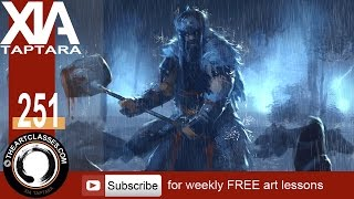 How to paint rain and lightning scene with character digital painting tutorial