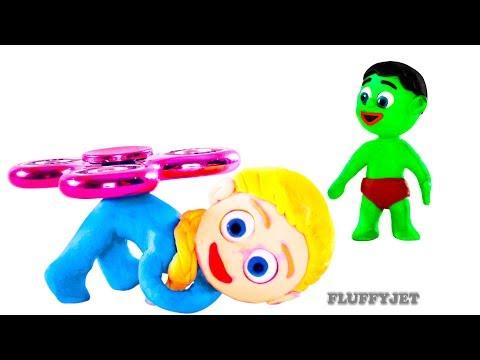Babies Playtime Fidget Spinner Fun with Frozen Elsa Play Doh Stop Motion Kids Cartoon Animation