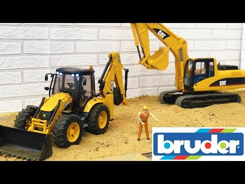 BRUDER TOYS tractor and TRUCK sand CONSTRUCTION action video for kids!