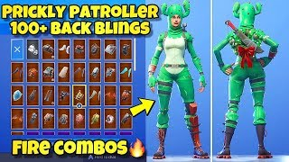 """NOUVEAU """"PRICKLY PATROLLER"""" SKIN Showcased With 100 'BACK BLINGS! Fortnite Battle Royale (CACTUS SKIN)"""